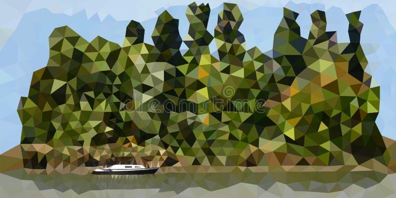 Зеленый остров с сиротливой шлюпкой иллюстрация штока