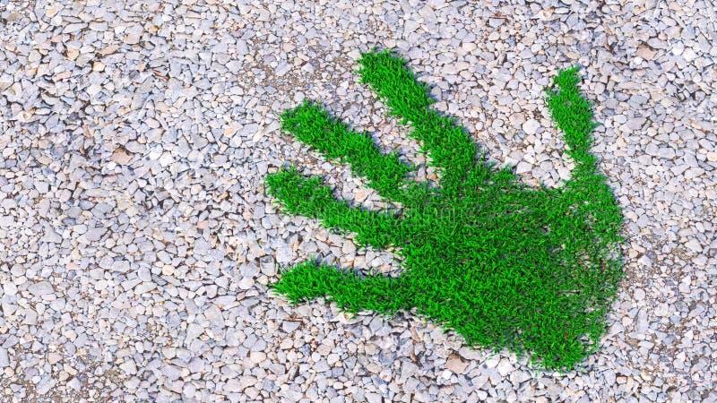 Зеленый отпечаток на фоне гравия стоковые фото