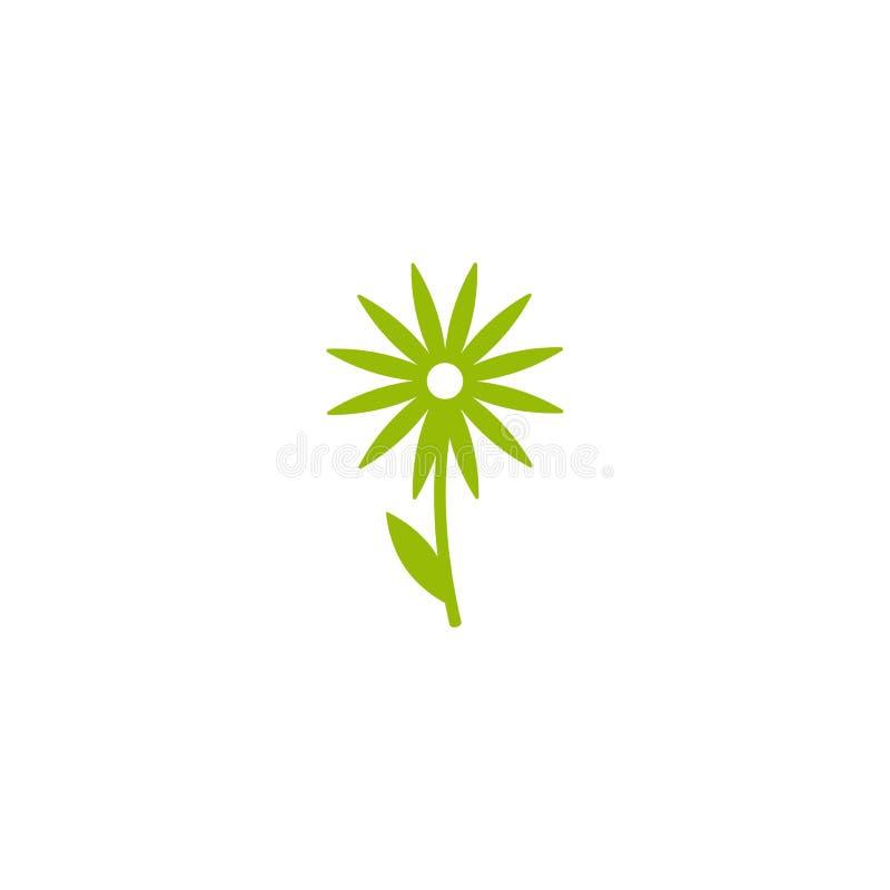Зеленый плоский значок стоцвета с sprig и лист Изолировано на белизне вектор бесплатная иллюстрация
