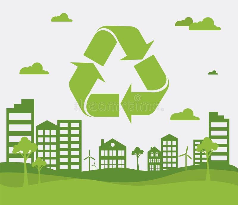 Зеленый повторно используя знак и зеленый город Предпосылка экологичности для футболки, плаката, знамени, летчика r бесплатная иллюстрация