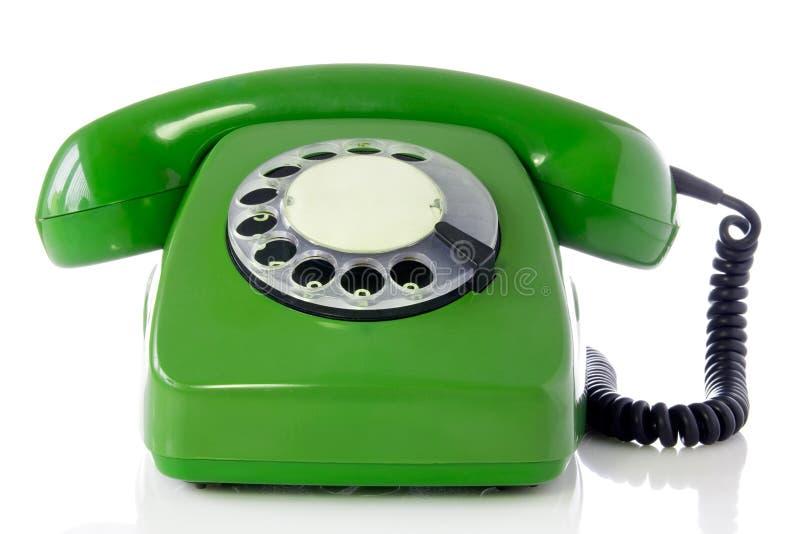 зеленый ретро телефон стоковые изображения rf