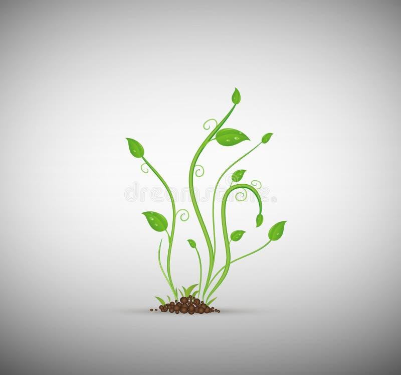 Зеленый росток в изолированной почве, иллюстрация штока