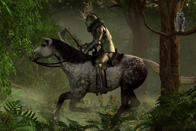 Зеленый рыцарь иллюстрация штока