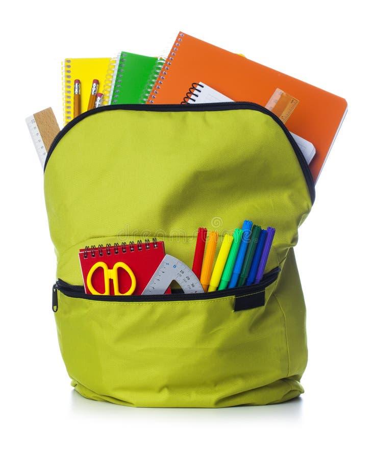 Зеленый рюкзак школы стоковая фотография
