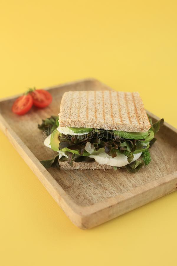 Зеленый свежий сэндвич vegan стоковые изображения