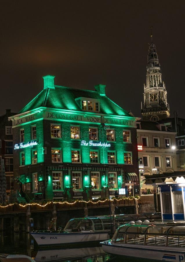 Зеленый свет Амстердама кузнечика стоковое фото rf