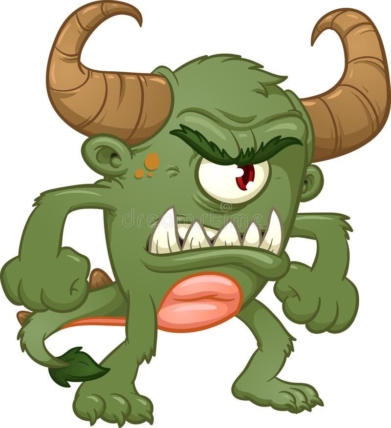 Зеленый сердитый изверг с большими рожками иллюстрация штока