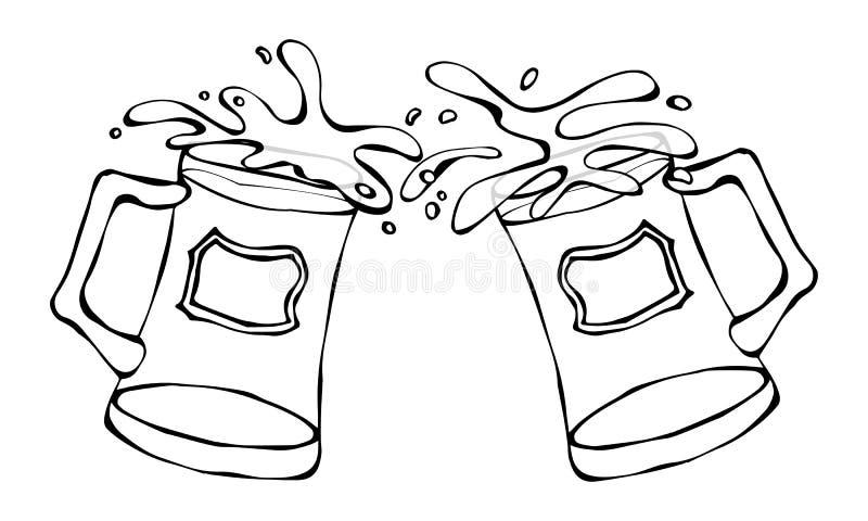 Зеленый символ дня St Patricks пива 2 стекла с выплеском алкогольного напитка Вектор Ирландии дня Patricks Святого иллюстрация штока