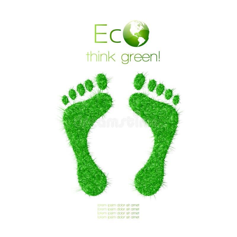 Зеленый след ноги сделанный от травы. Думайте зеленый цвет. Ecol бесплатная иллюстрация
