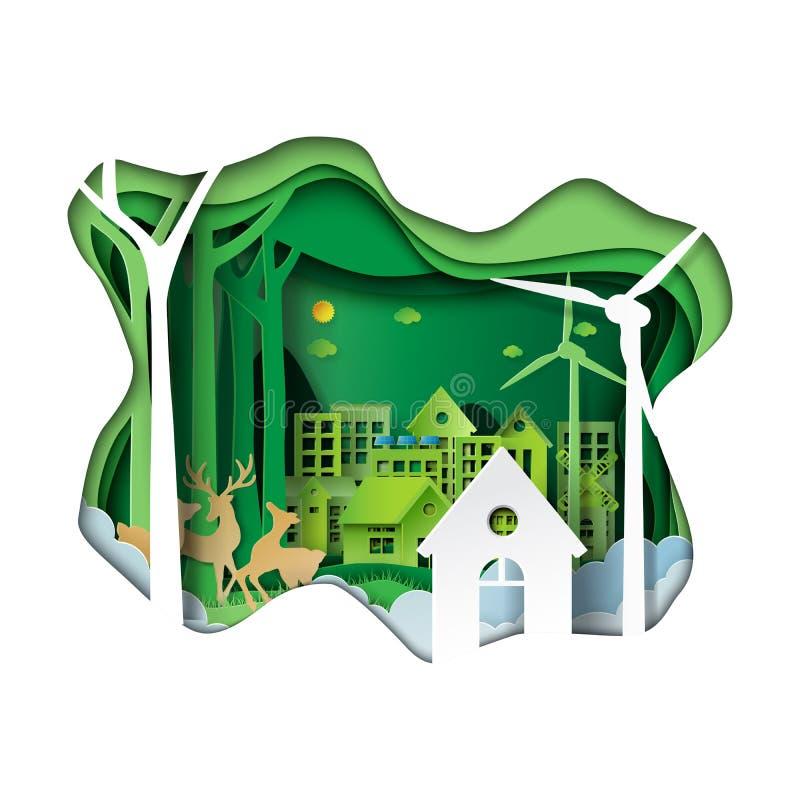 Зеленый стиль искусства бумаги окружающей среды иллюстрация штока