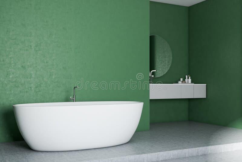 Зеленый угол ванной комнаты, белый ушат и раковина иллюстрация штока