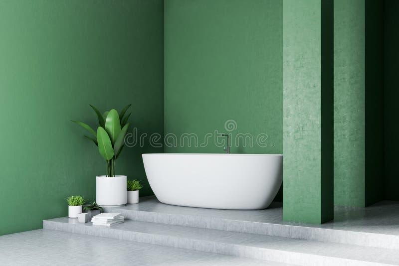 Зеленый угол ванной комнаты, белый ушат бесплатная иллюстрация