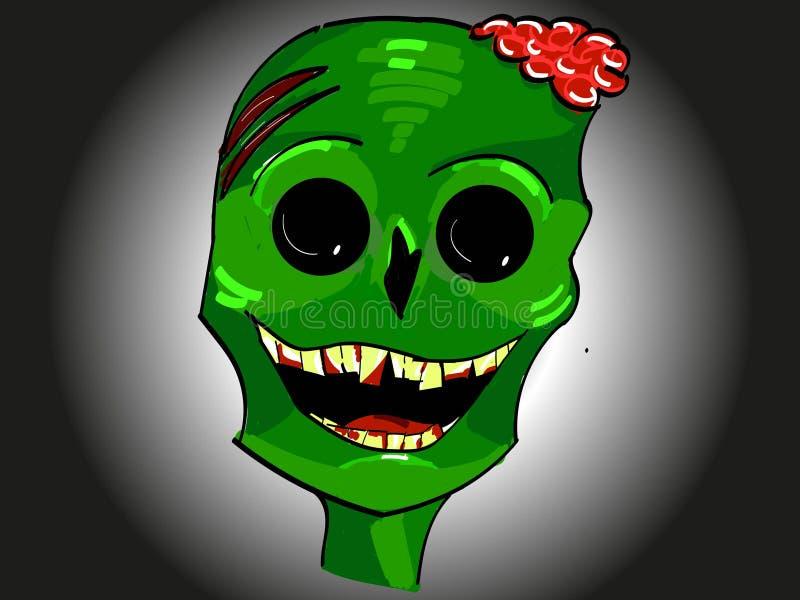 Зеленый усмехаясь значок зомби главный с мозгами и желтыми зубами на хеллоуин иллюстрация штока