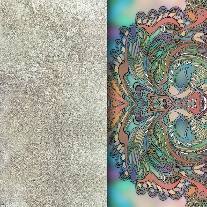 Зеленый флористический дизайн, винтажная пастельная предпосылка иллюстрация вектора