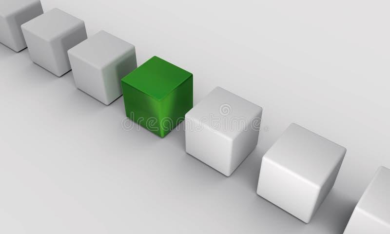Зеленый цвет †кубов в ряд « 3d представляют иллюстрация штока