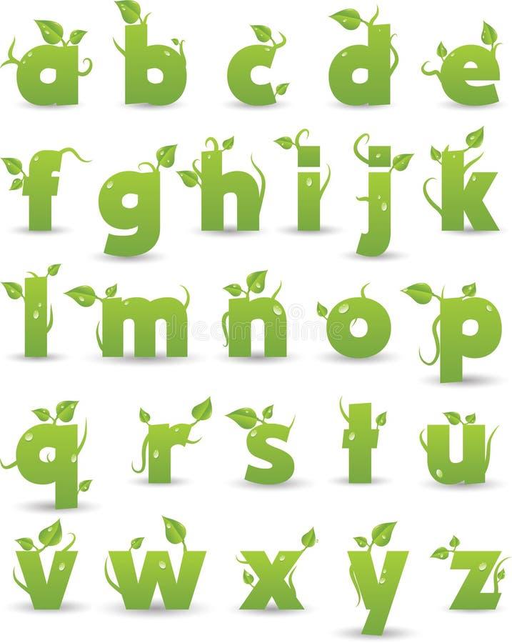 зеленый цвет алфавита флористический иллюстрация вектора