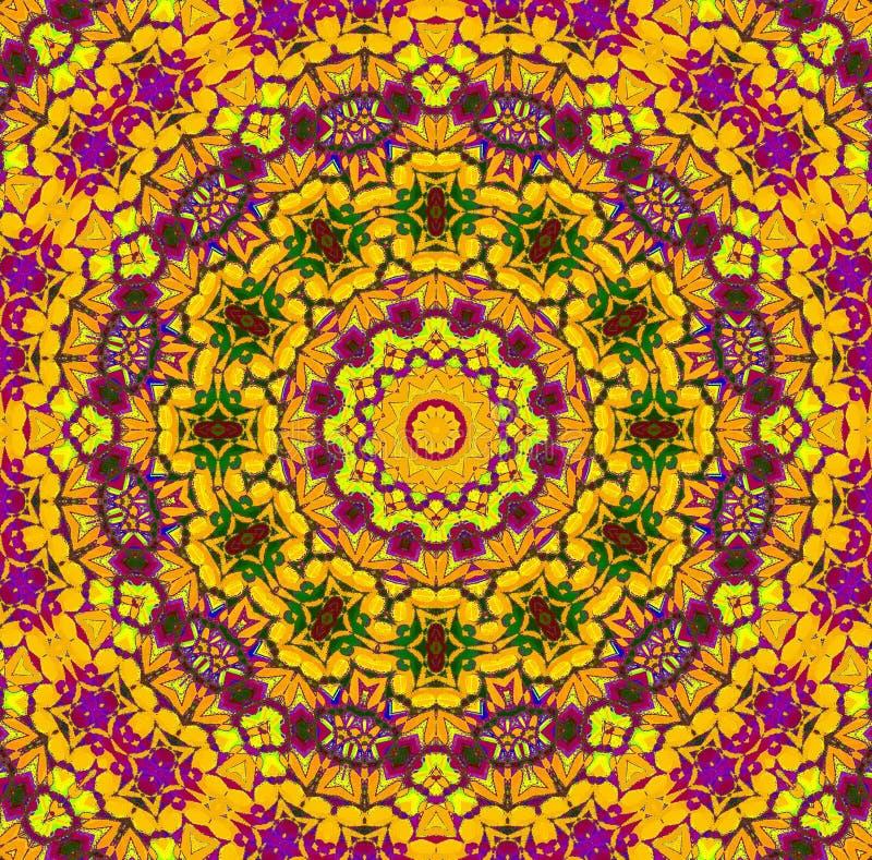 Зеленый цвет безшовного концентрического желтого цвета орнамента оранжевый фиолетовый иллюстрация вектора