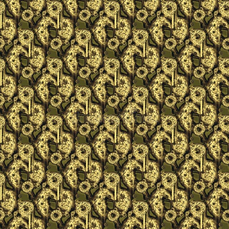 Зеленый цвет безшовного круглого коричневого цвета золота картины прованский иллюстрация вектора