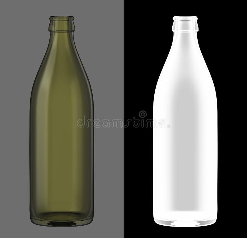 зеленый цвет бутылочного стекла пива иллюстрация штока