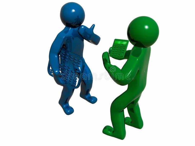 зеленый цвет бухгалтеров 3d голубой иллюстрация штока