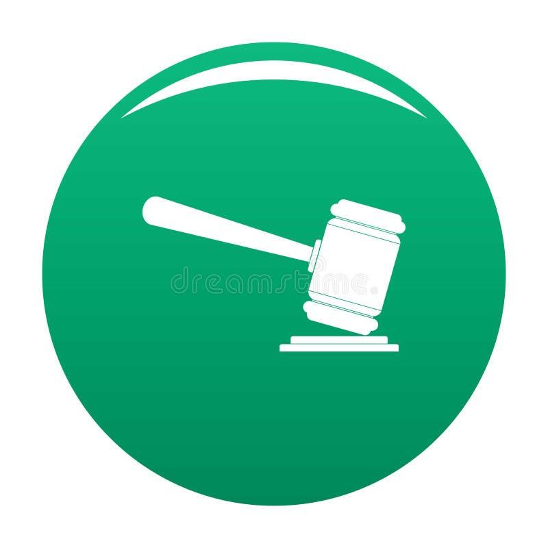 Зеленый цвет вектора значка молотка судьи иллюстрация вектора