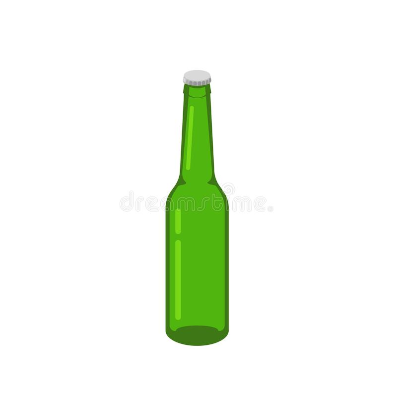 Зеленый цвет вектора стекла пивной бутылки равновеликий изолированный на белой предпосылке иллюстрация штока