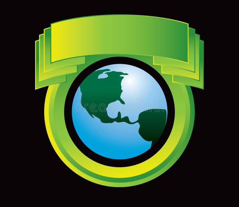 зеленый цвет глобуса гребеня иллюстрация вектора