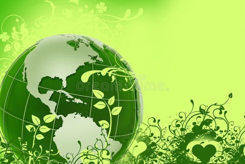 зеленый цвет глобуса eco иллюстрация штока
