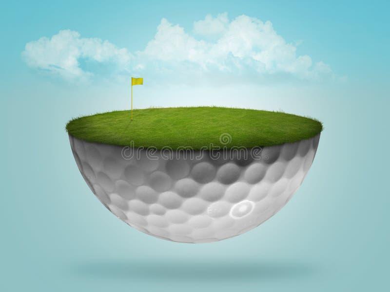зеленый цвет гольфа шарика плавая иллюстрация штока