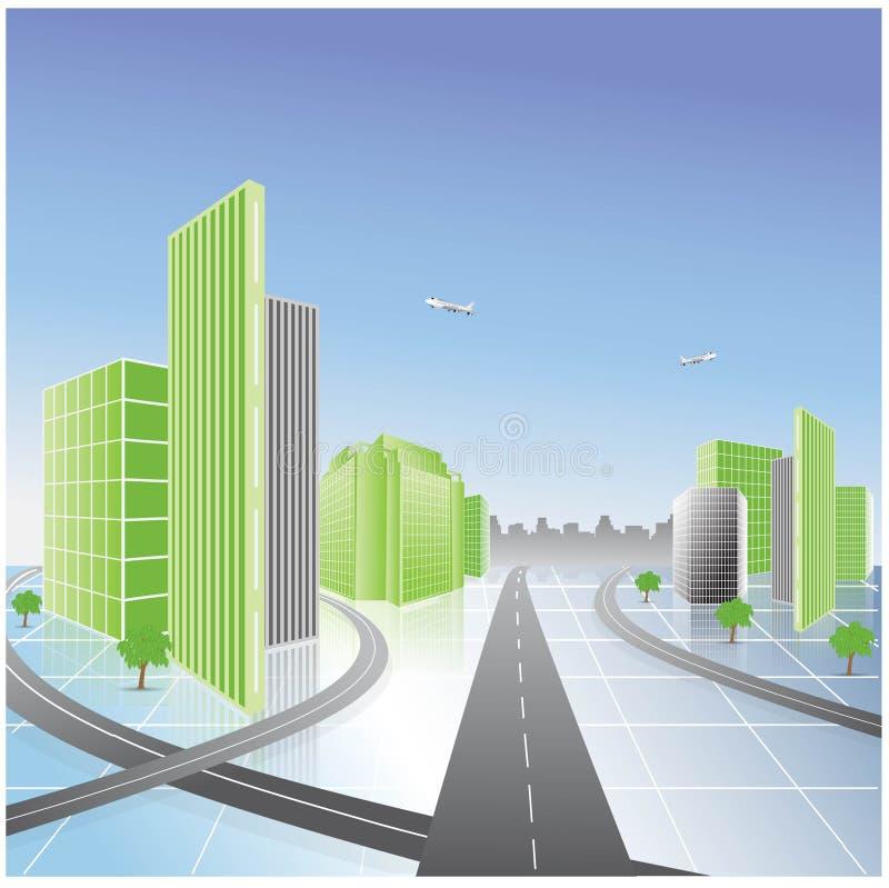 зеленый цвет города иллюстрация вектора