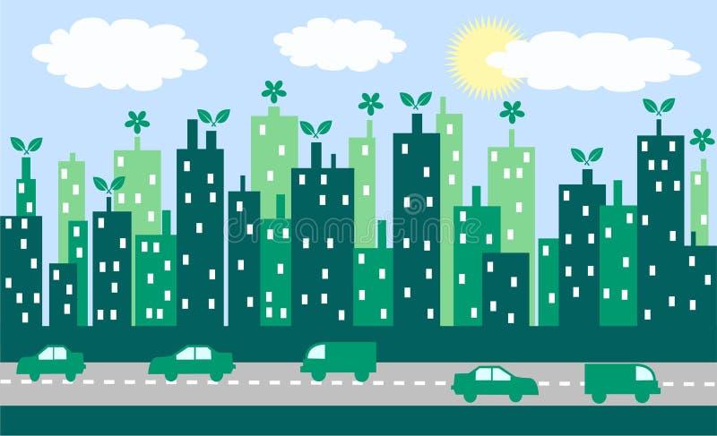 зеленый цвет города иллюстрация штока