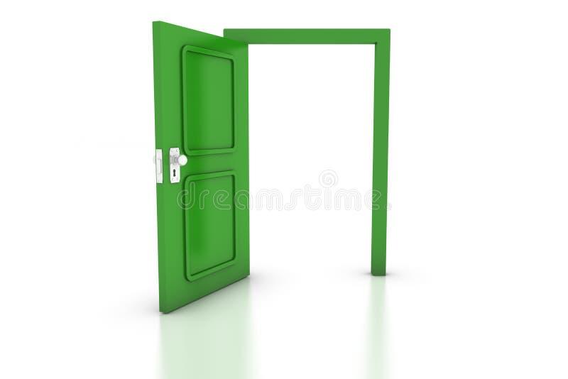 зеленый цвет двери открытый иллюстрация вектора