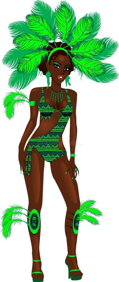зеленый цвет девушки масленицы иллюстрация вектора