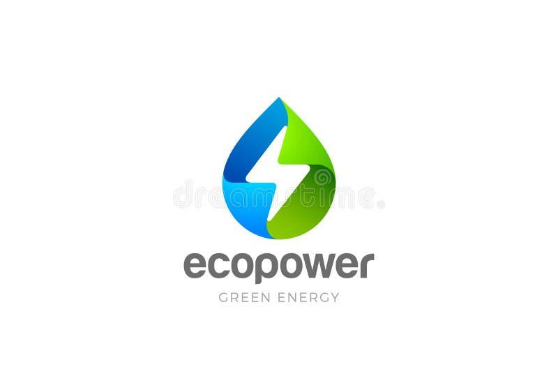 Зеленый цвет дизайна логотипа Thunderbolt падения воды внезапный ene иллюстрация вектора