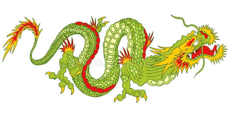 зеленый цвет дракона иллюстрация вектора