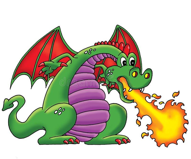 зеленый цвет дракона иллюстрация штока