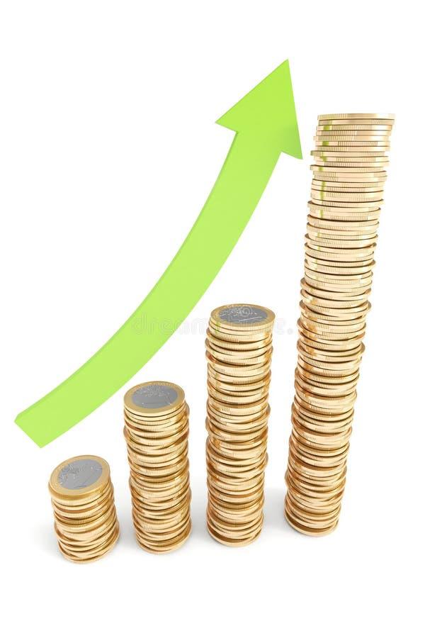 зеленый цвет евро монеток стрелки идя штабелирует вверх бесплатная иллюстрация