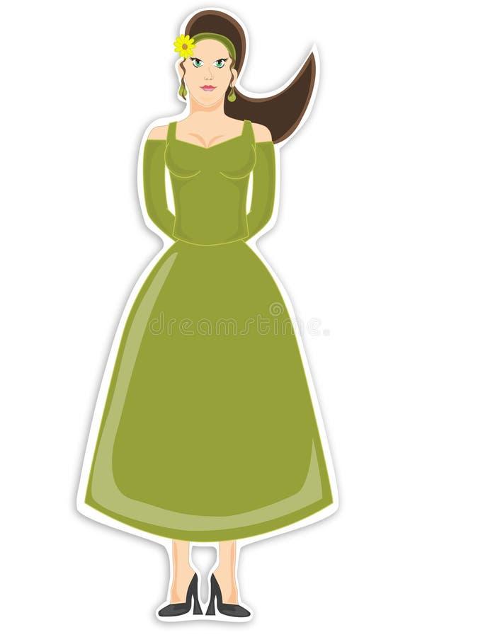 зеленый цвет женщины платья иллюстрация штока