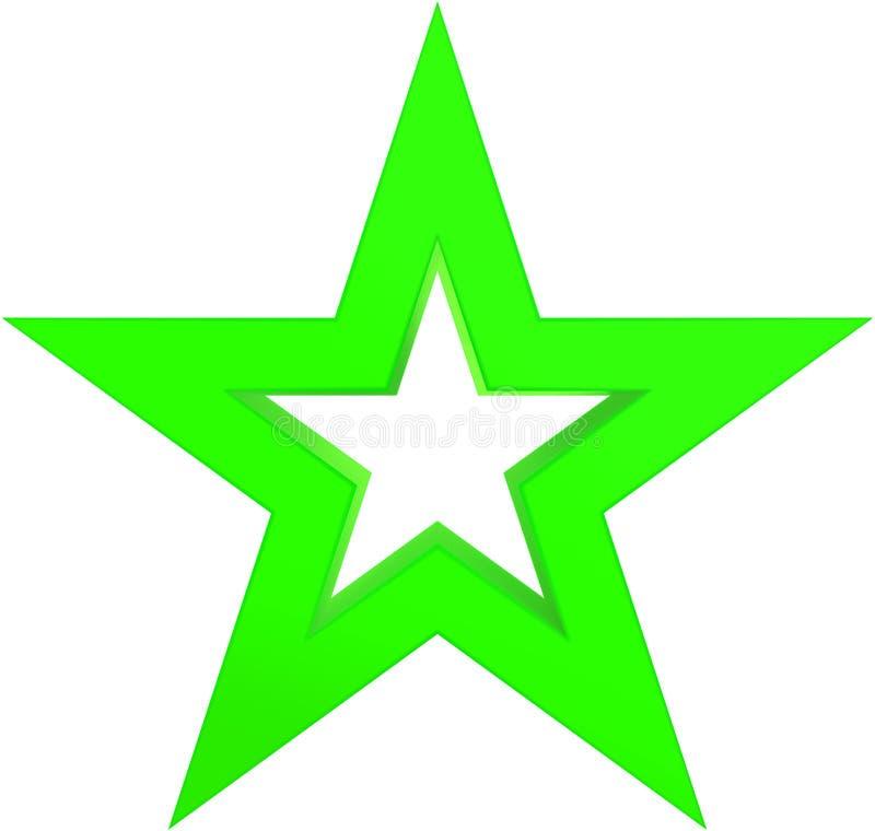 Зеленый цвет звезды рождества - законспектированная звезда 5 пунктов - изолированный на белизне иллюстрация штока