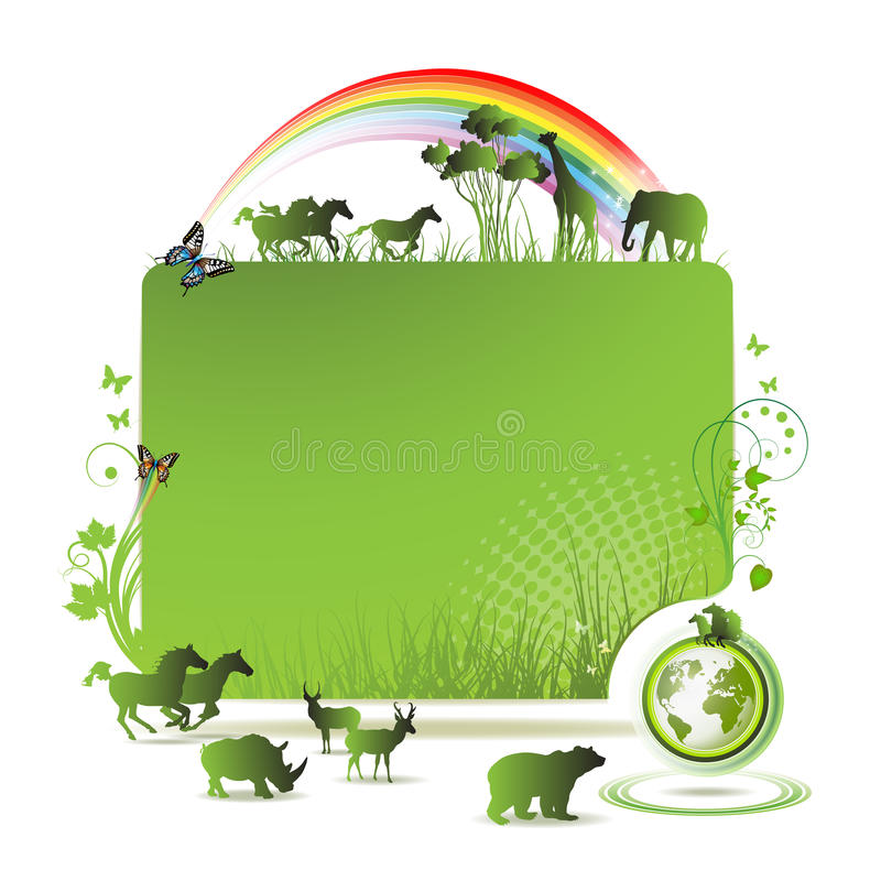 зеленый цвет земли знамени иллюстрация вектора