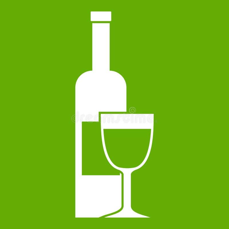 Зеленый цвет значка бутылки и стекла вина иллюстрация штока