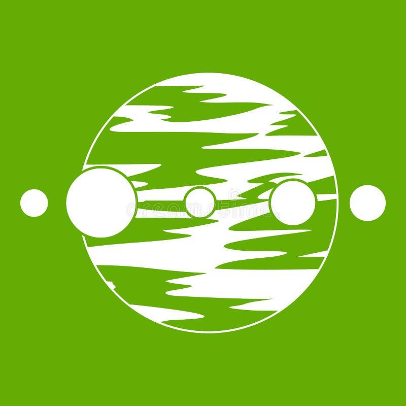 Зеленый цвет значка планеты и лун иллюстрация штока