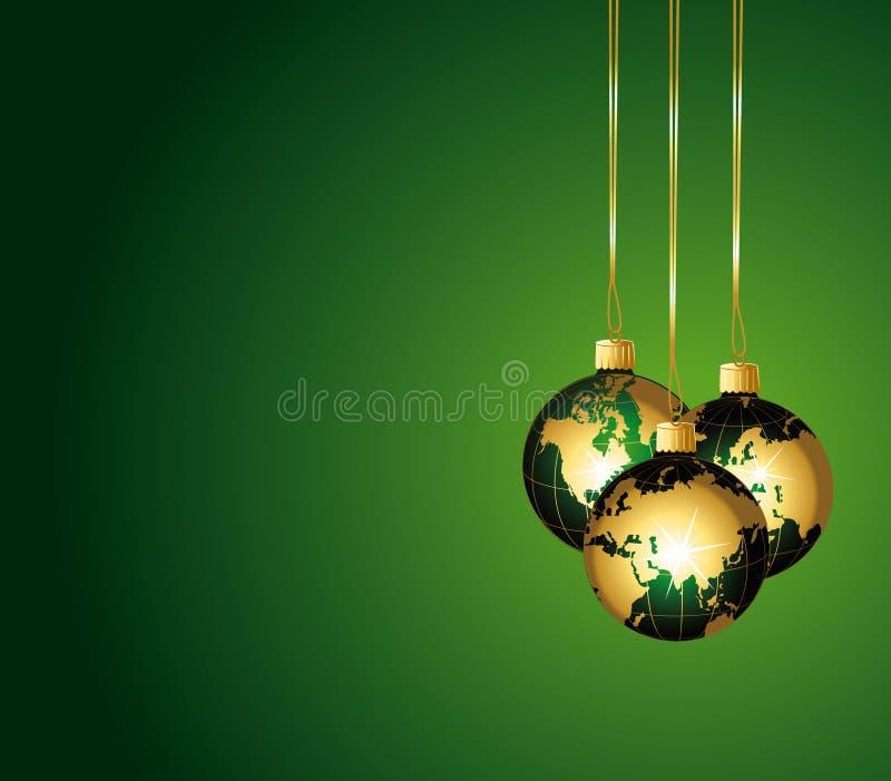 зеленый цвет золота глобусов шариков стеклянный иллюстрация вектора