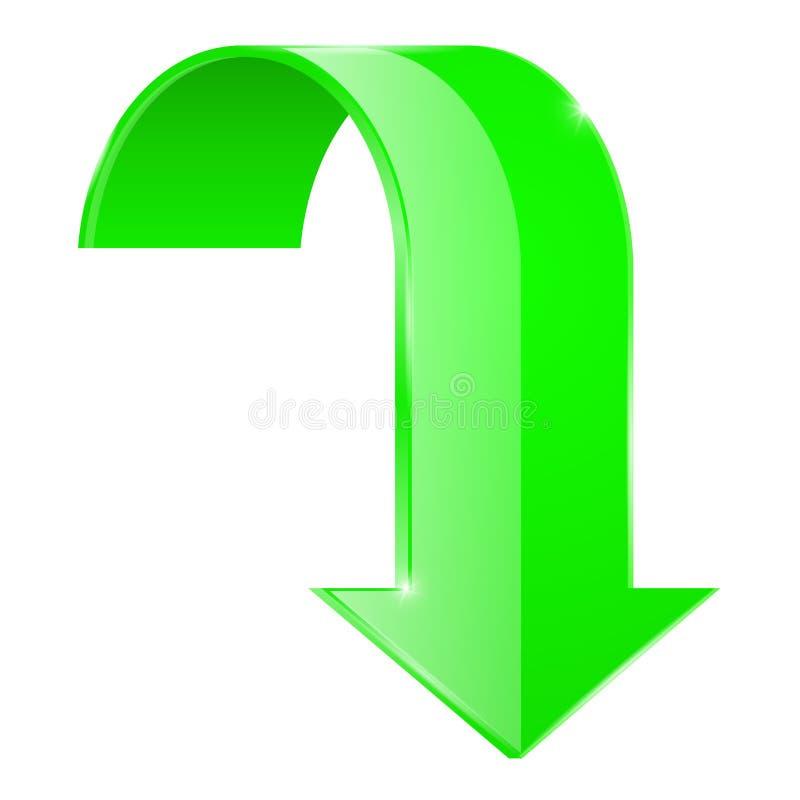 Зеленый цвет изогнутый ВНИЗ С стрелки икона 3d иллюстрация штока