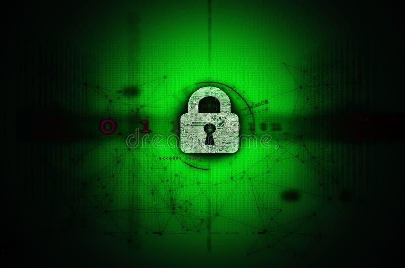 Зеленый цвет иллюстрации Cybersecurity стоковое фото