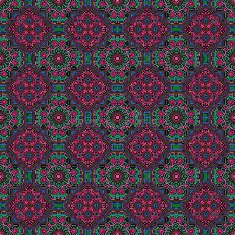 Зеленый цвет и пинк стиля красочной безшовной плитки картины морокканские иллюстрация вектора