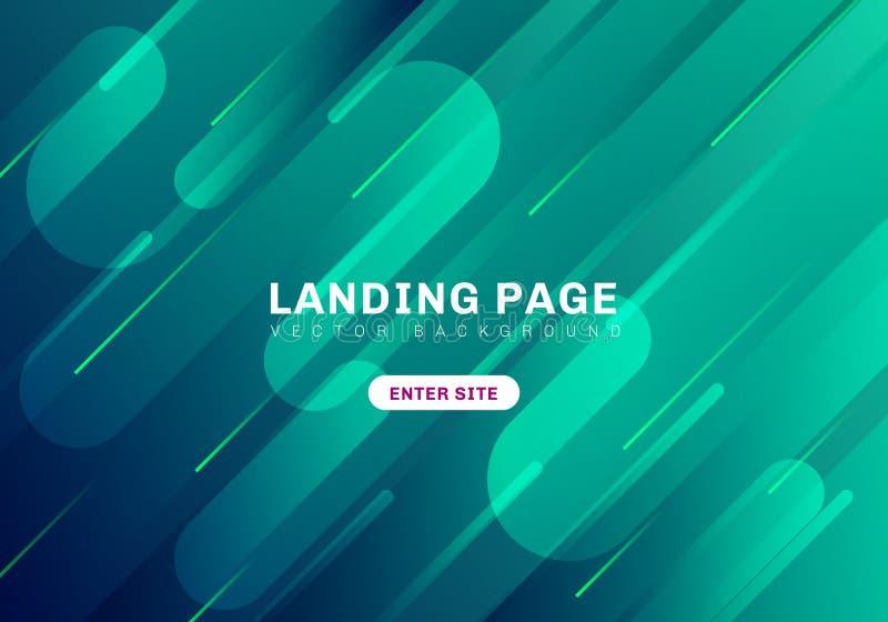 Зеленый цвет конспекта минимальный геометрический живой и голубой цвет на темной предпосылке страница посадки вебсайта шаблона Ди иллюстрация вектора