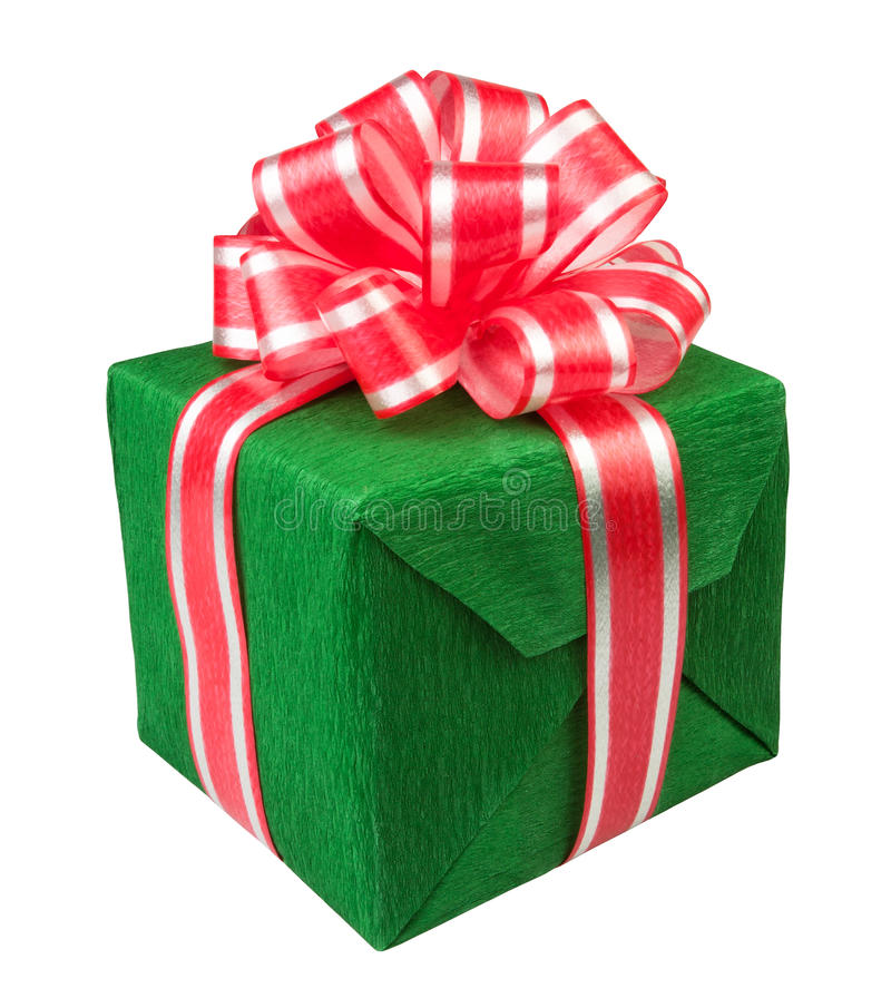 Зеленый цвет настоящего момента коробки подарка стоковые фотографии rf