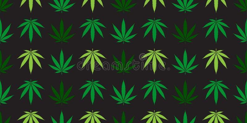 Зеленый цвет обоев повторения предпосылки плитки лист конопли засорителя вектора картины марихуаны безшовным изолированный шарфом бесплатная иллюстрация