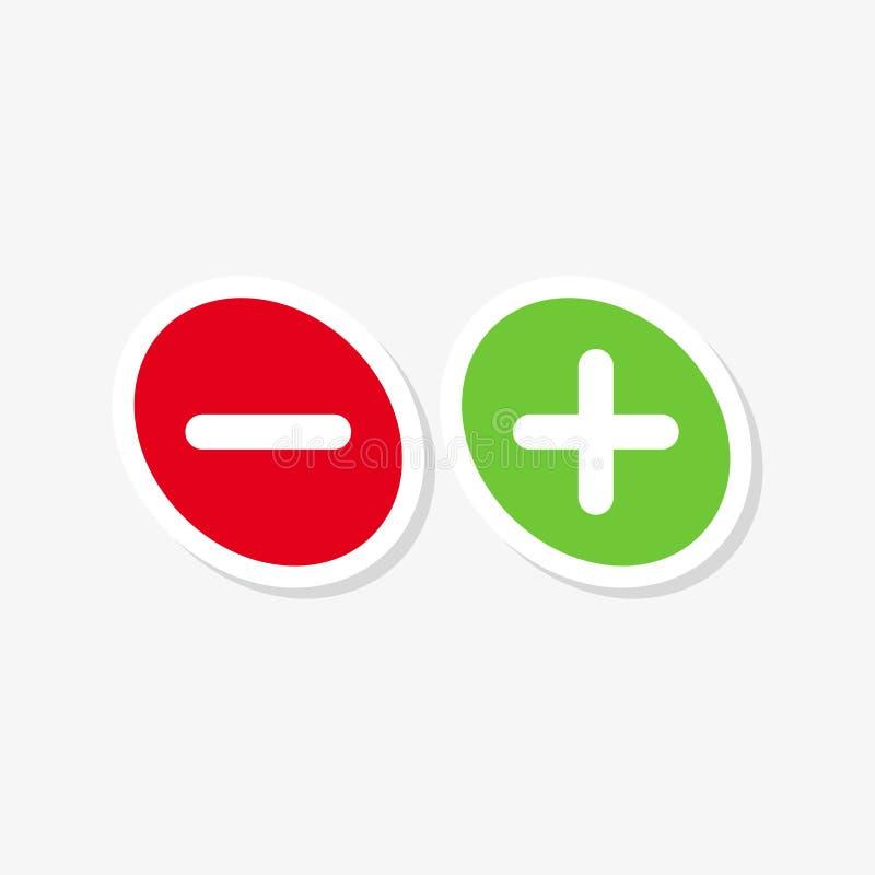 Зеленый цвет плюс и красный цвет минус плоский стикер бесплатная иллюстрация